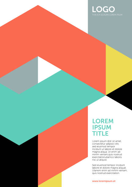 tangram shapes – layout or cover template 1 (geometric minimalism set) - modern art stock illustrations
