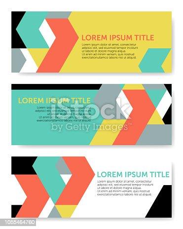 istock Tangram Shapes – Three Banner Templates (Geometric Minimalism Set) 1055464760