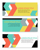 Three geometric vector banner template, based on tangram shapes in yellow, green, red, black and gray; including space for copy text.