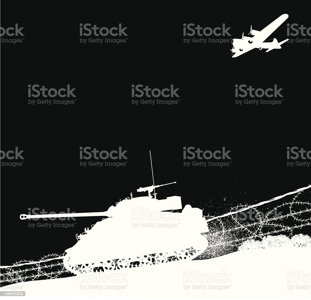 US Tank and Bomber Plane - World War Two royalty-free stock vector art
