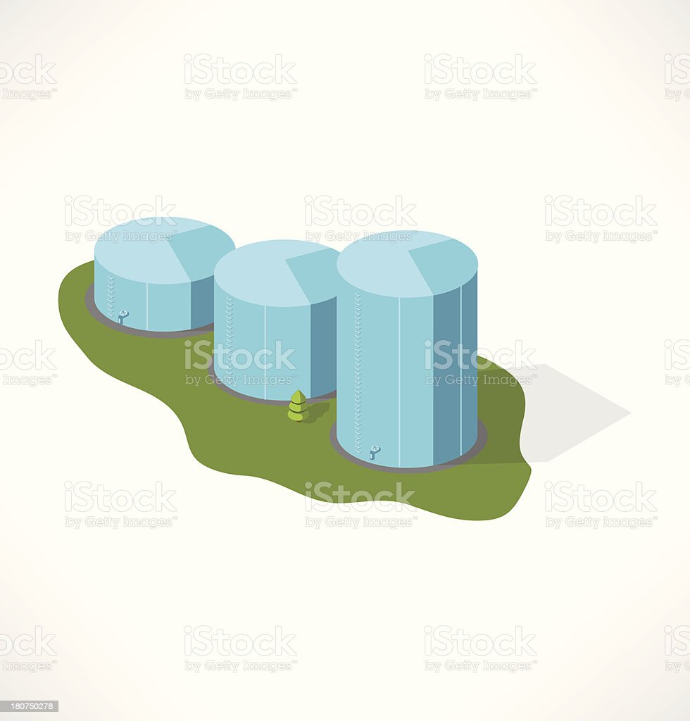 Tank for store oil. Isometric building. royalty-free stock vector art