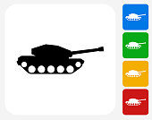 Tank Icon. This 100% royalty free vector illustration features the main icon pictured in black inside a white square. The alternative color options in blue, green, yellow and red are on the right of the icon and are arranged in a vertical column.