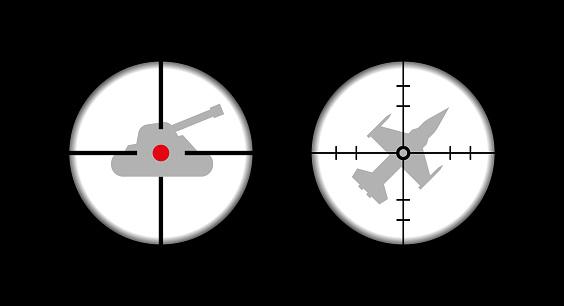 Tank in sight, fighter in sight. Vector illustration