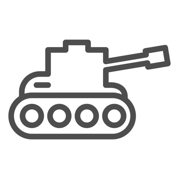 Tank line icon. Army war vehicle silhouette symbol, outline style pictogram on white background. Warfare or military sign for mobile concept and web design. Vector graphics. Tank line icon. Army war vehicle silhouette symbol, outline style pictogram on white background. Warfare or military sign for mobile concept and web design. Vector graphics human limb stock illustrations