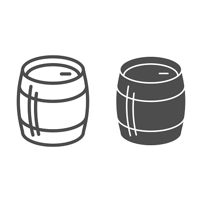 Tank of beer line and solid icon, Craft beer concept, Beer Barrel sign on white background, Storage tank for beverage icon in outline style for mobile concept and web design. Vector graphics.