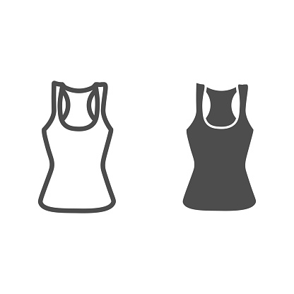 Tank shirt line and solid icon, Summer clothes concept, sporty summer top sign on white background, women tank top icon in outline style for mobile concept and web design. Vector graphics.