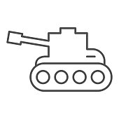 Tank thin line icon. Army war vehicle silhouette symbol, outline style pictogram on white background. Warfare or military sign for mobile concept and web design. Vector graphics