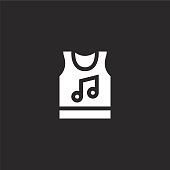 tank top icon. Filled tank top icon for website design and mobile, app development. tank top icon from filled music festival collection isolated on black background.