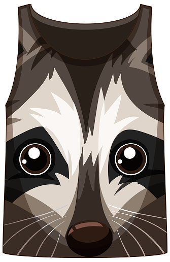Tank top with face of raccoon pattern