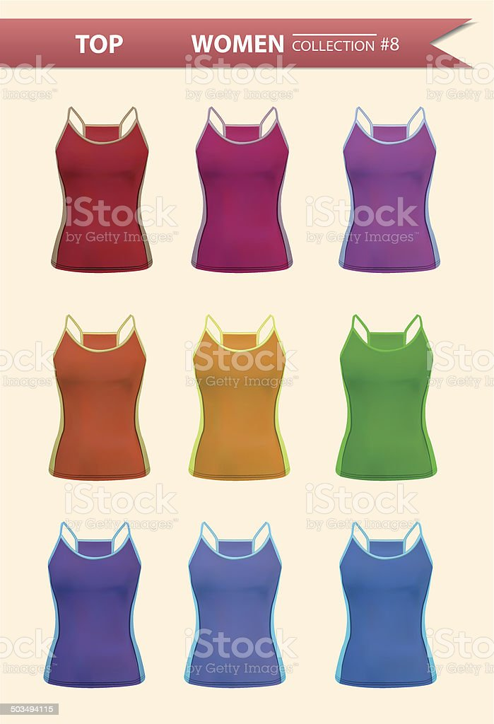 Tank top women collection royalty-free stock vector art