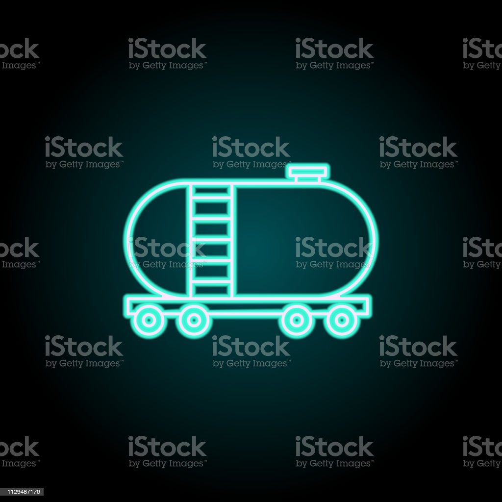 Tank wagon icon. Elements of Logistics in neon style icons. Simple...