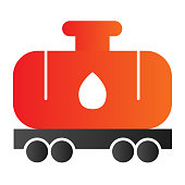 Tank wagon line icon. Chemical fuel railroad wagon. Oil industry vector design concept, outline style pictogram on white background