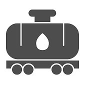 Tank wagon solid icon. Chemical fuel railroad wagon. Oil industry vector design concept, glyph style pictogram on white background