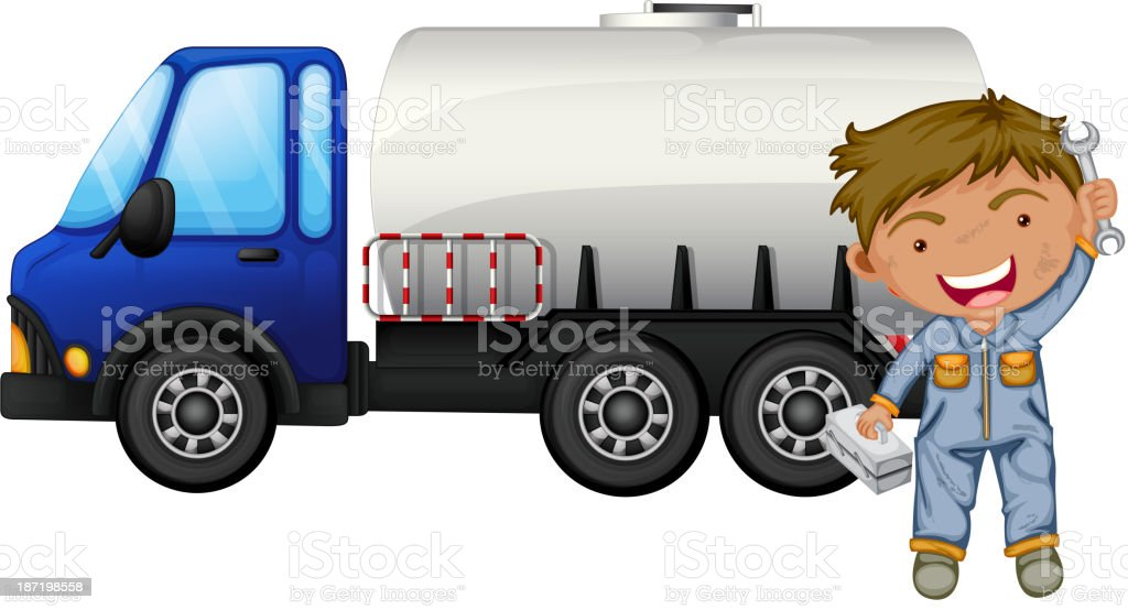tanker and a young man royalty-free stock vector art
