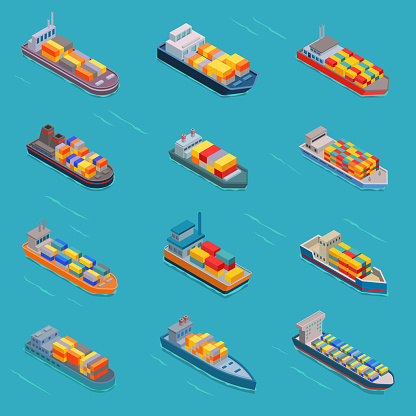 Tanker oil bulk vector isometric tank ships or cargo boats transport and isometry transportation by sea or ocean set illustration oiled vessel isolated on white background