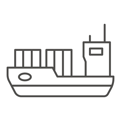 Tanker thin line icon, transport symbol, cargo ship vector sign on white background, oil tanker ship icon in outline style for mobile concept and web design. Vector graphics.