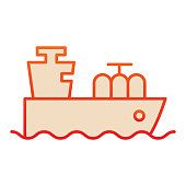 Tanker with oil or gas line icon. Cargo ship, boat transportation. Fuel industry vector design concept, outline style pictogram on white background