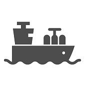 Tanker with oil or gas solid icon. Cargo ship, boat transportation. Fuel industry vector design concept, glyph style pictogram on white background