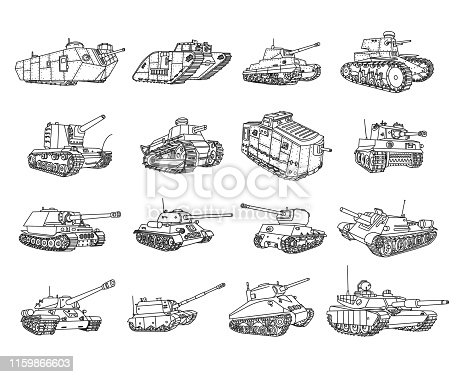 Vector military tanks doodles set.
