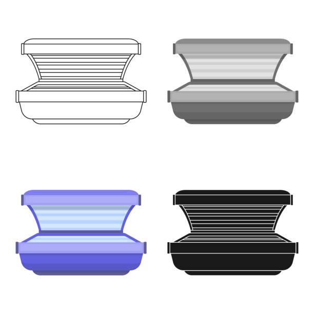 Tanning bed icon in cartoon style isolated on white background. Skin care symbol stock vector web illustration. - illustrazione arte vettoriale
