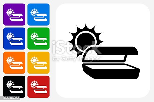 Tanning Bed Icon Square Button Set. The icon is in black on a white square with rounded corners. The are eight alternative button options on the left in purple, blue, navy, green, orange, yellow, black and red colors. The icon is in white against these vibrant backgrounds. The illustration is flat and will work well both online and in print.