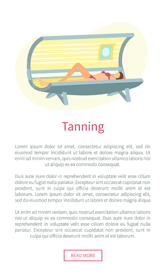 Tanning Web Poster with Woman Lying in Solarium