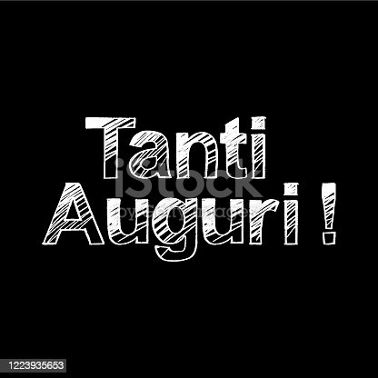 istock Tanti Auguri brush paint hand drawn lettering on black background. Congratulation in italian language design  templates for greeting cards, overlays, posters 1223935653