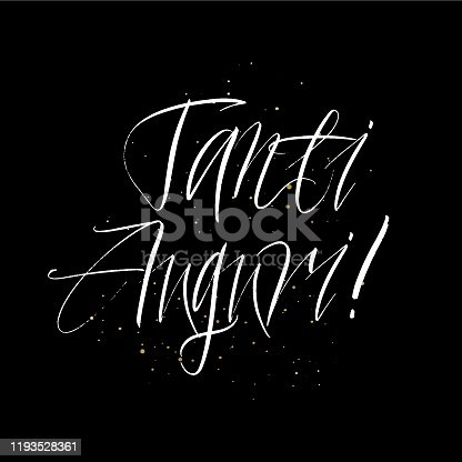 istock Tanti Auguri brush paint hand drawn lettering on black background with splashes. Congratulation in italian language design  templates for greeting cards, overlays, posters 1193528361