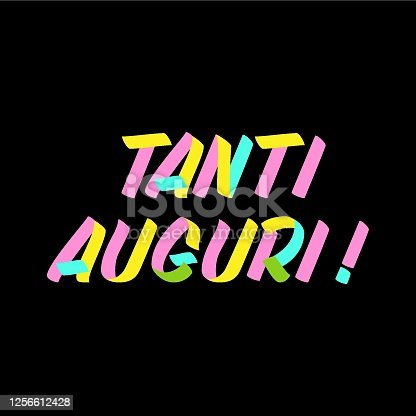 istock Tanti Auguri brush sign paint lettering on black background. Congratulation in italian language design  templates for greeting cards, overlays, posters 1256612428