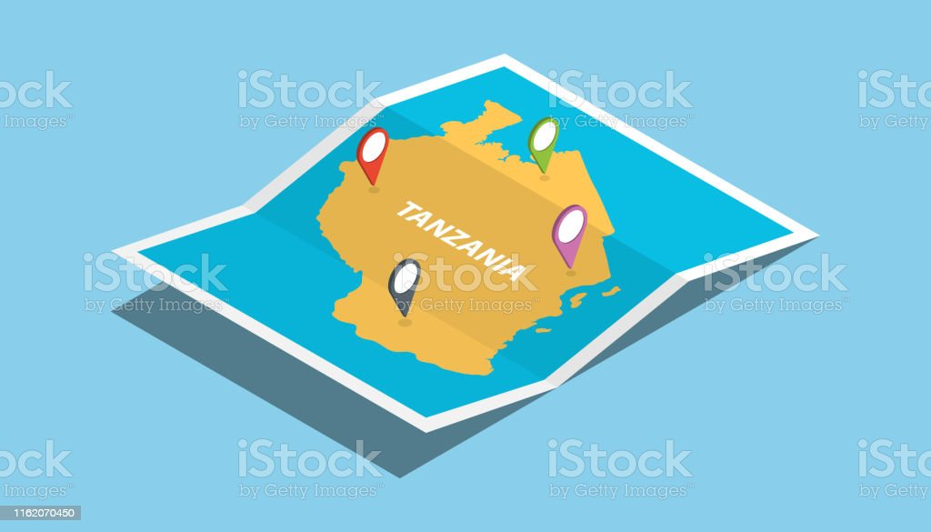 tanzania africa explore maps with isometric style and pin location...