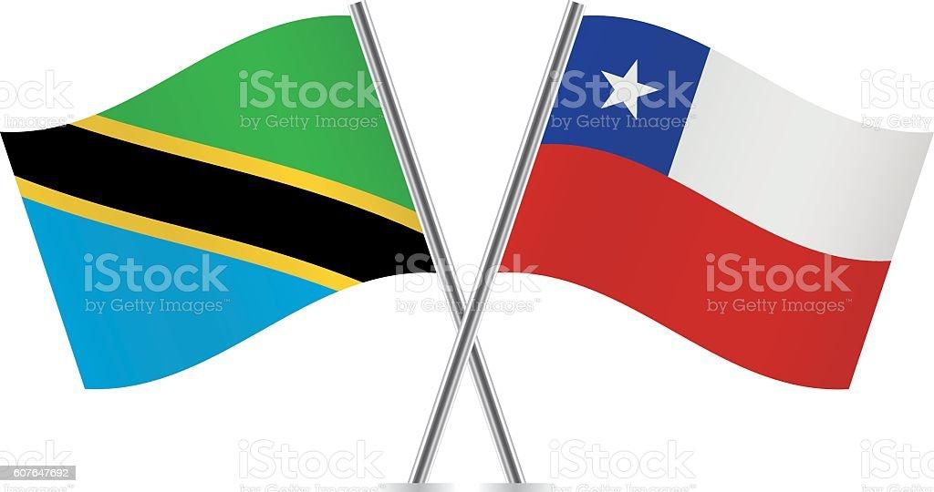 Tanzania and Chile flags. Vector. - ilustración de arte vectorial