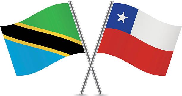 tanzania and chile flags. vector. - チリの国旗点のイラスト素材/クリップアート素材/マンガ素材/アイコン素材