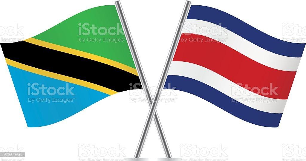 Tanzania and Costa Rica flags. Vector. - ilustração de arte em vetor