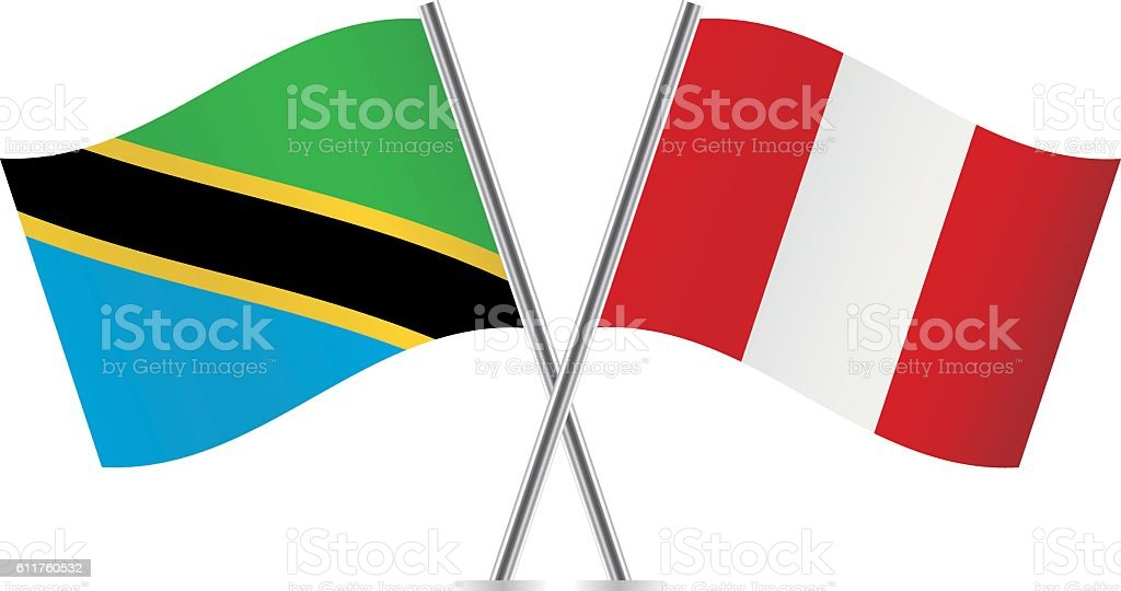 Tanzania and Peru flags. Vector. - ilustración de arte vectorial