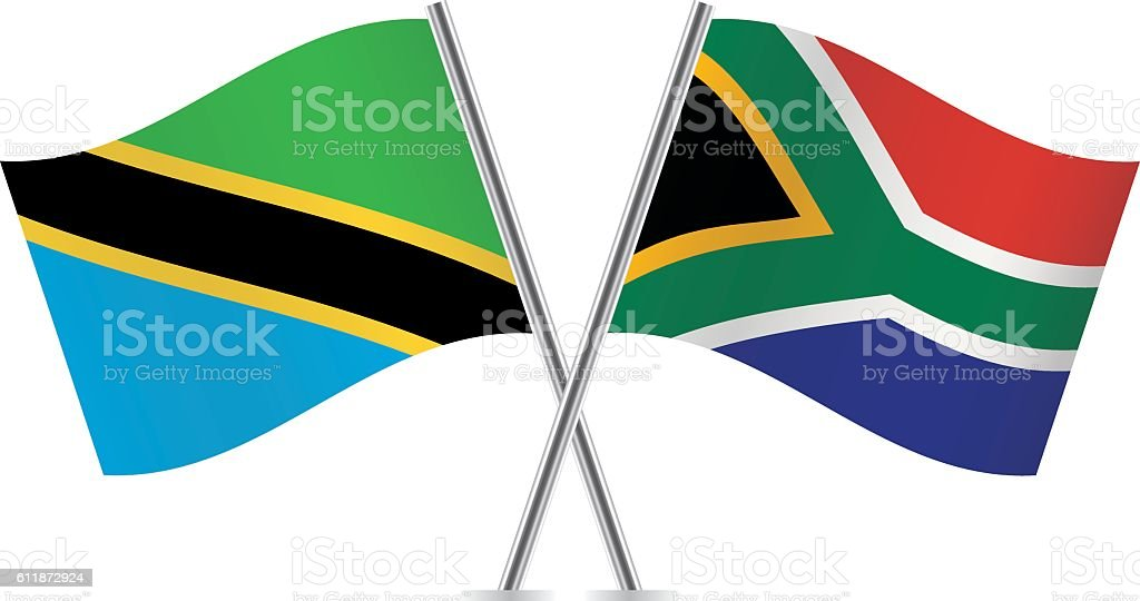 Tanzania and South Africa flags. Vector. vector art illustration
