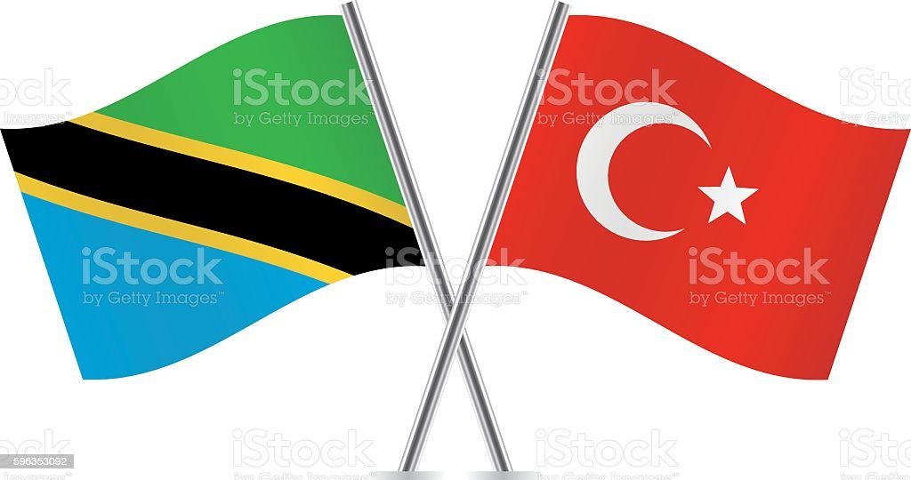 Tanzania and Turkish flags. Vector. royalty-free tanzania and turkish flags vector stock vector art & more images of banner - sign
