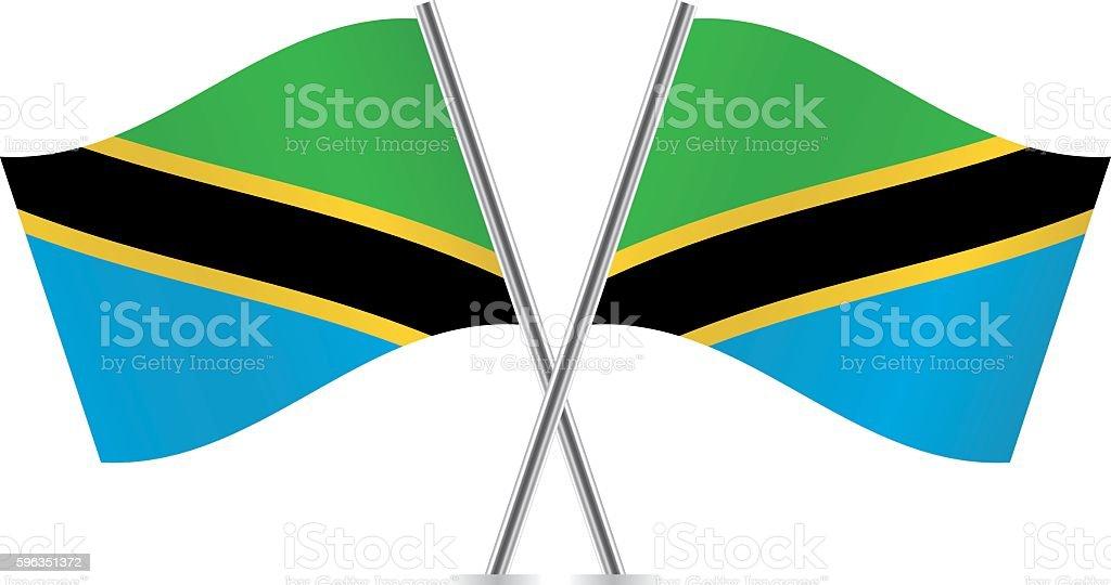 Tanzania flags. Vector. Lizenzfreies tanzania flags vector stock vektor art und mehr bilder von biegung