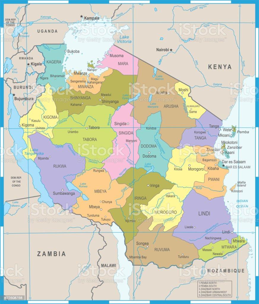 Tanzania Map Detailed Vector Illustration Stock Vector Art More