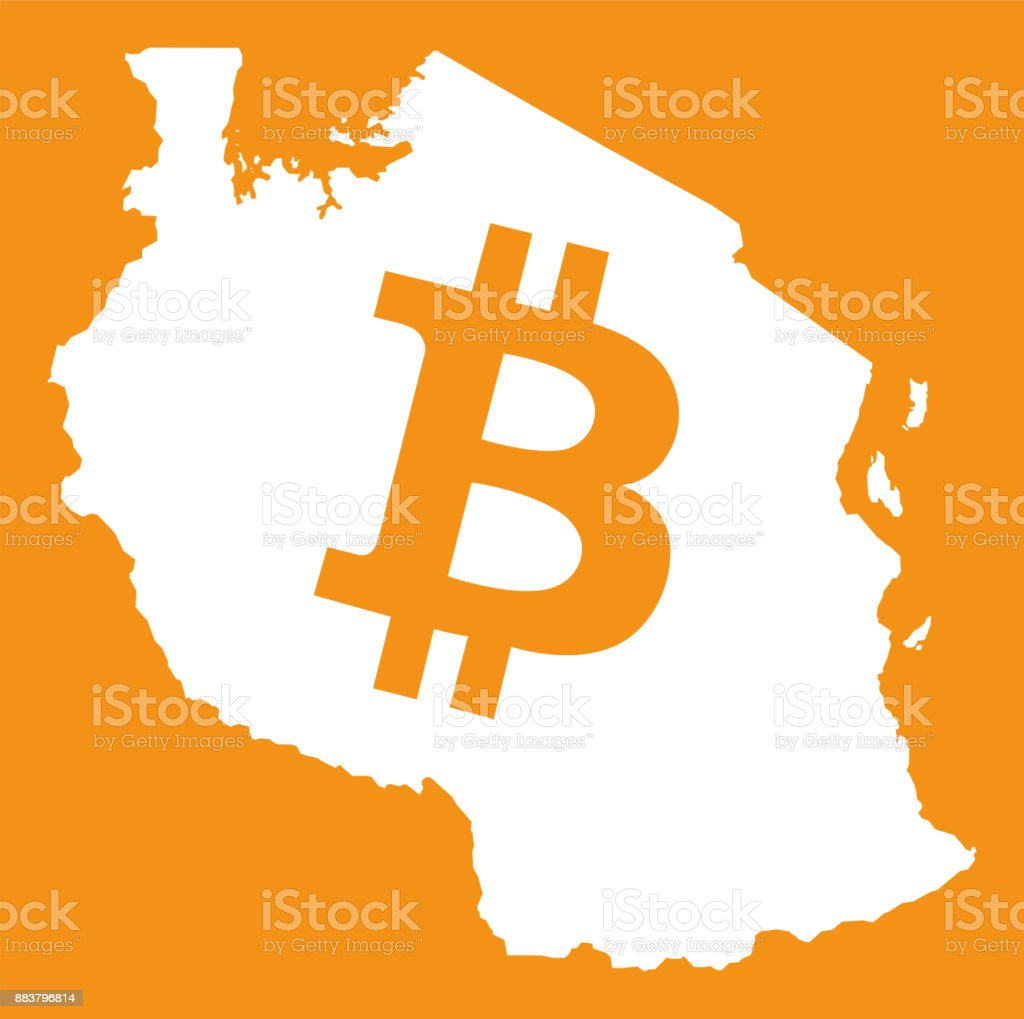 Tanzania Map With Bitcoin Crypto Currency Symbol Illustration Stock