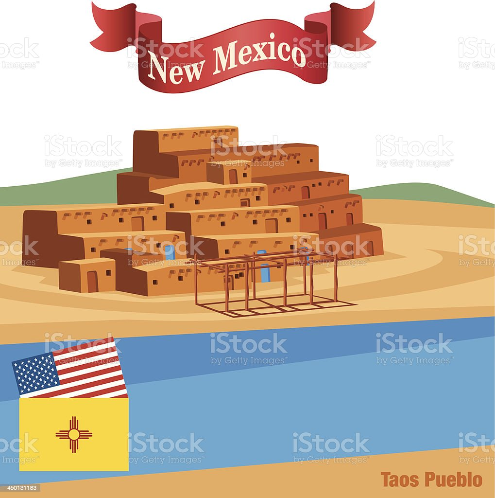 Taos Pueblo royalty-free taos pueblo stock vector art & more images of architecture