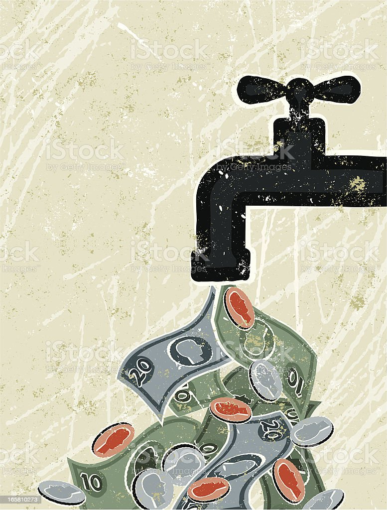 Tap ( Faucet ) and Money vector art illustration