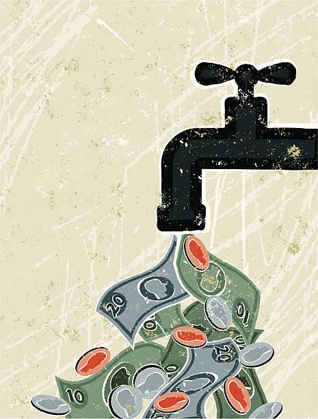 tap (wasserhahn) und geld - fallrohr stock-grafiken, -clipart, -cartoons und -symbole