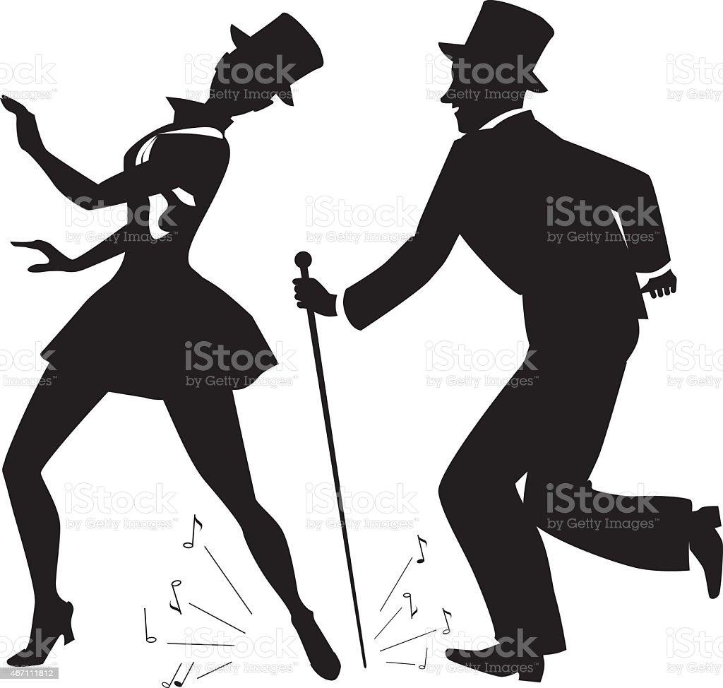 Tap dance performers vector art illustration