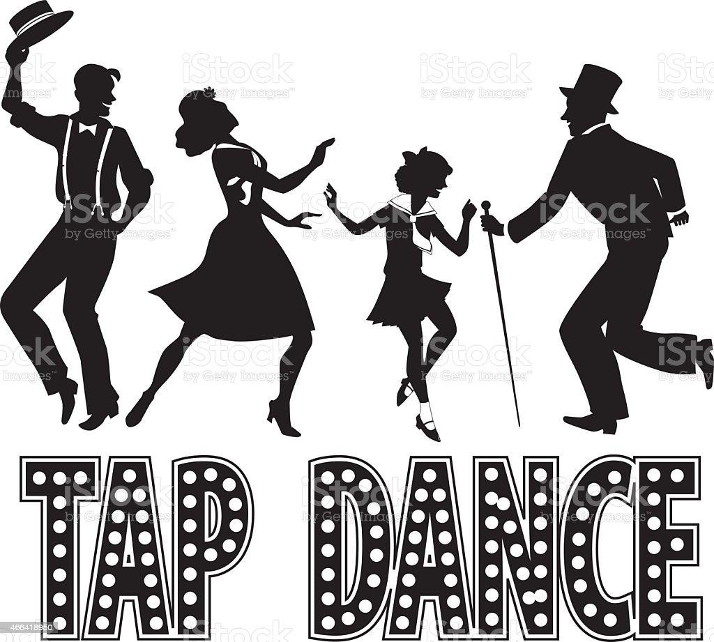 Tap dance silhouette banner vector art illustration