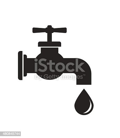 tap faucet black icon with drop