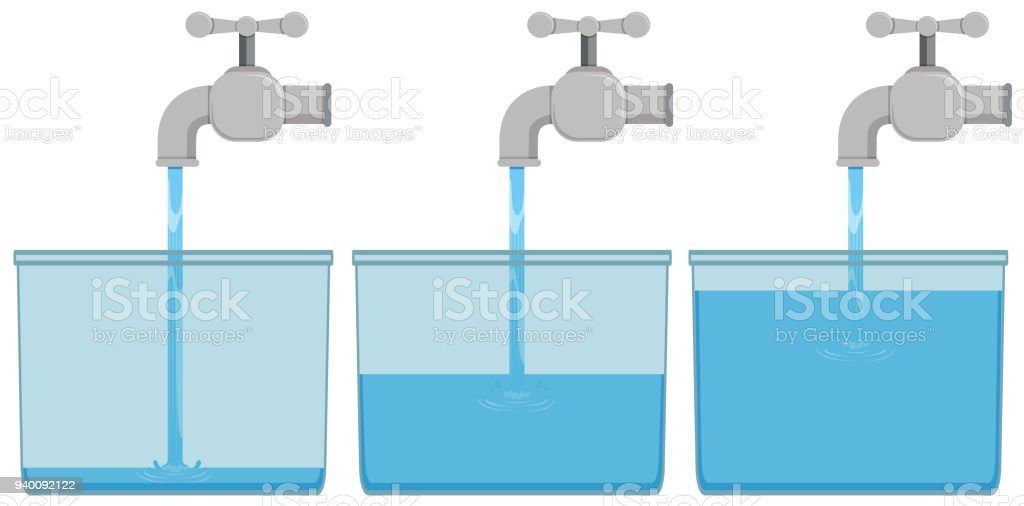 Tap water in buckets vector art illustration