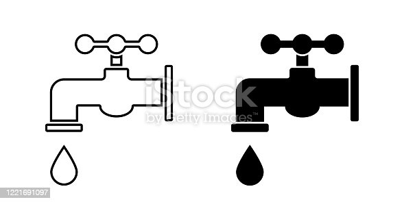 Tap water. Vector isolated icon. Faucet vector icon. Bathroom faucet icon. EPS 10