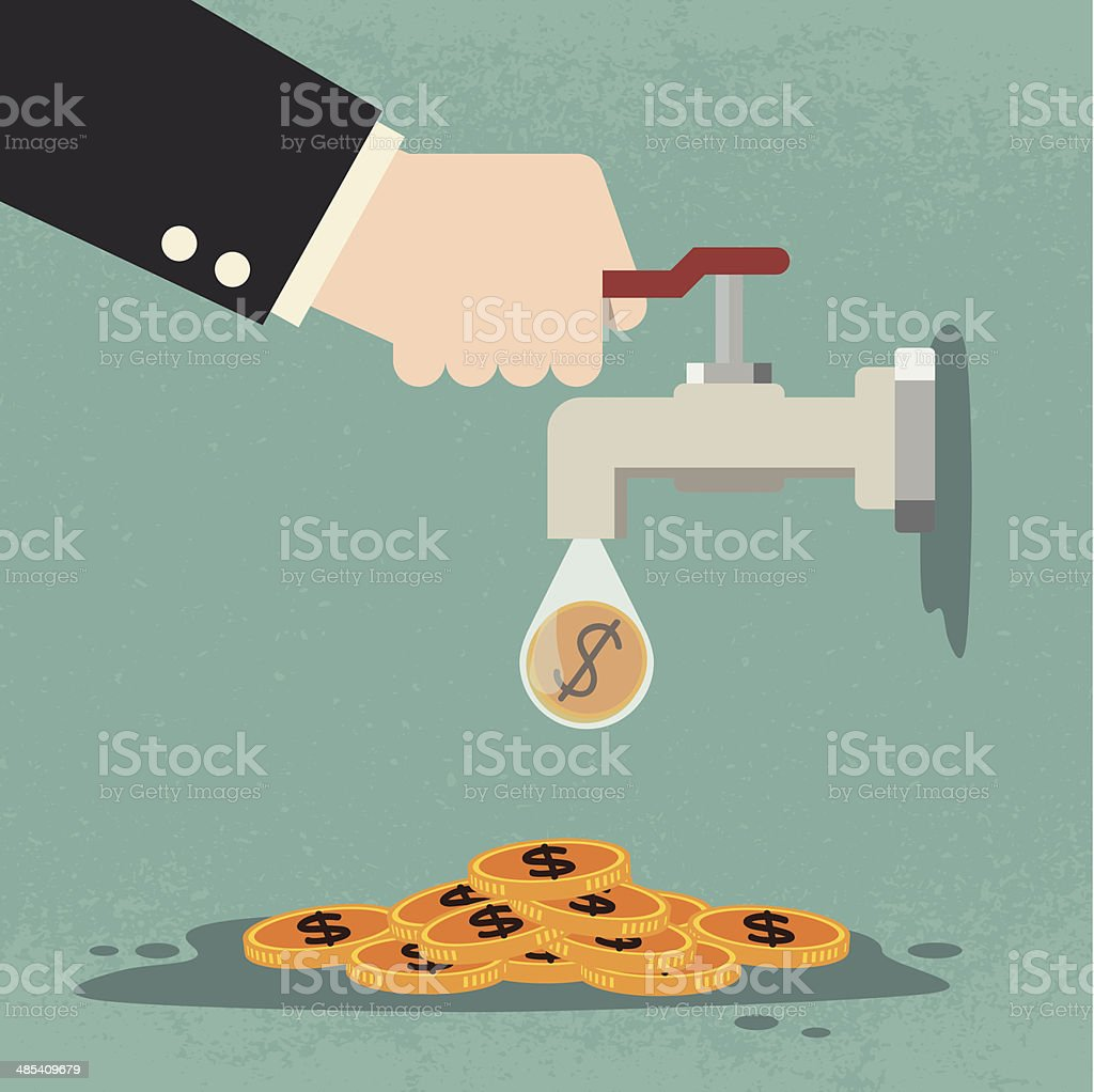 Tap with gold coins vector art illustration