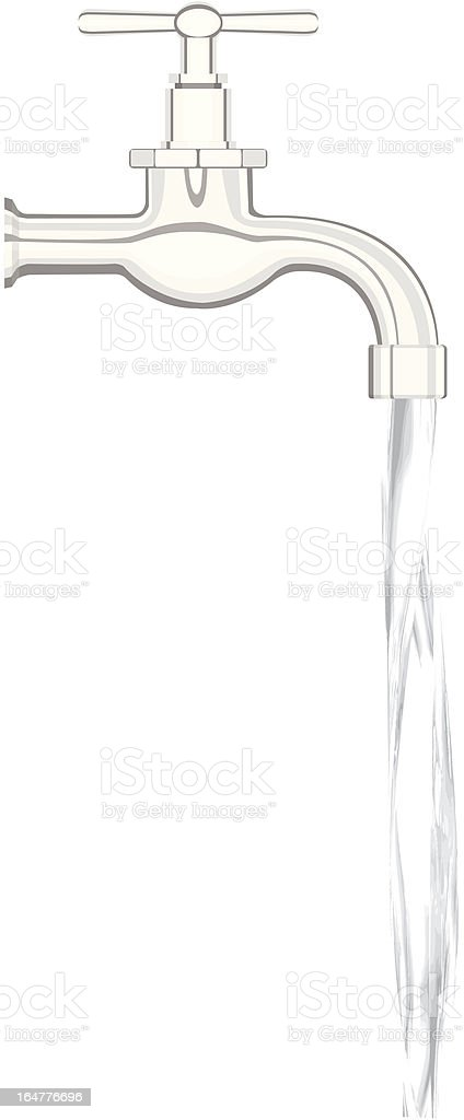 tap with running water vector art illustration