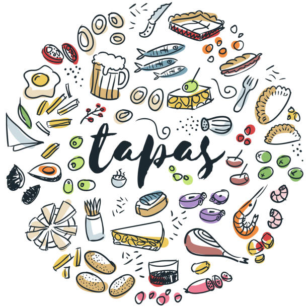 Tapas and appetizers hand drawn design vector art illustration